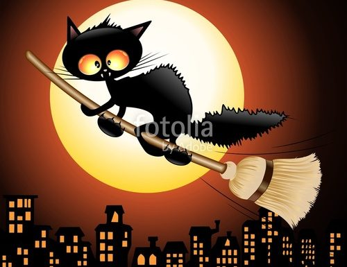 Fun Black Cat Cartoon riding a Broom