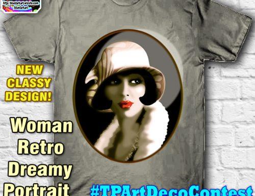 Woman Retro Dreamy Portrait – #TPArtDecoContest – by BluedarkArt