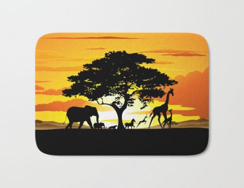 SOLD! Wild Animals on African Savanna Sunset Bath Mat – by BluedarkArt