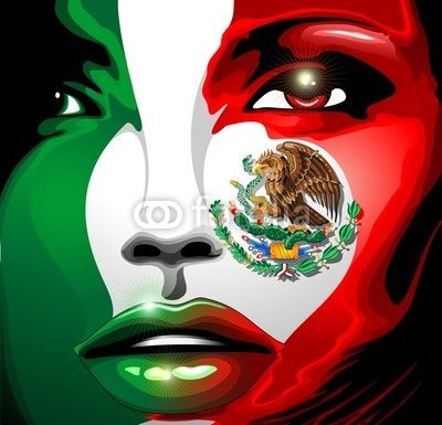 Mexico Flag Girl Portrait Design