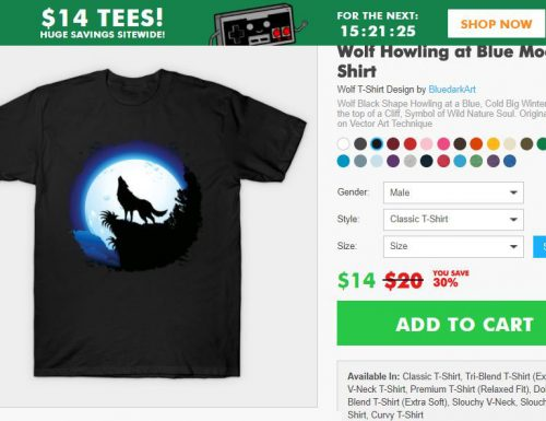 SOLD again! Wolf Howling Tee! Thanks a Lot to the Customer! :)
