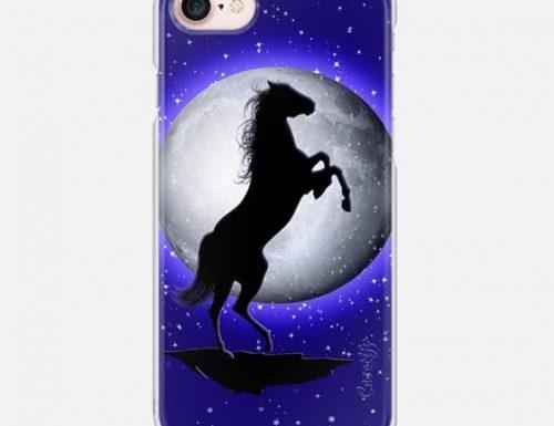 Wild Horse on Blue Moon iPhone Case by BluedarkArt | Casetify
