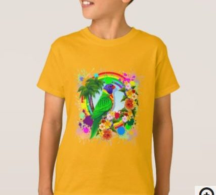 SOLD! Rainbow Lorikeet Parrot Kids TShirt | Design by BluedarkArt | Zazzle