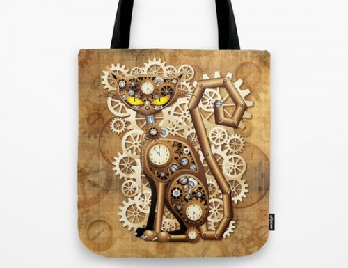 Steampunk Cat Tote Bag & Rug – SOLD – Design by BluedarkArt