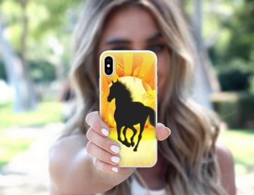 Wild Horse running on Golden Sunset – by BluedarkArt – iPhone X Case