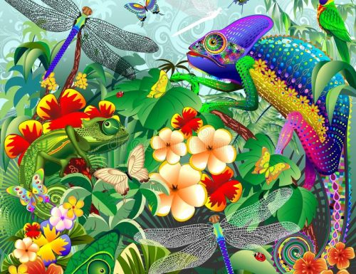 """Chameleons Hunting, Dragonflies, Butterflies, Ladybugs"" Vector Illustration © BluedarkArt"