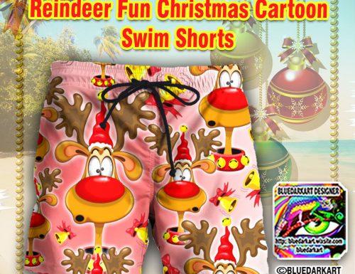 SOLD! Fun Reindeer Cartoon Swim Short – Design © BluedarkArt – LiveHeroes Shop