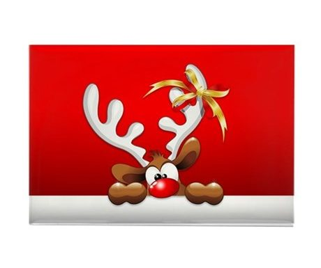 Funny Christmas Reindeer Cartoon Magnets by BluedarkArt