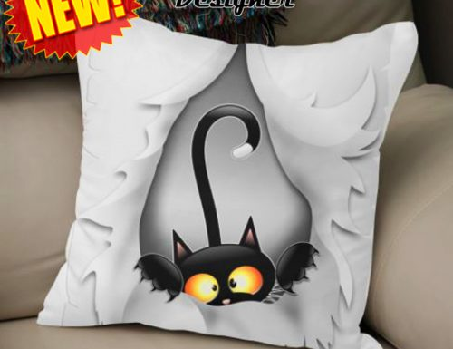 NEW! «Fun Cat Cartoon in ripped Fabric Hole», Throw Pillow by BluedarkArt – Curioos