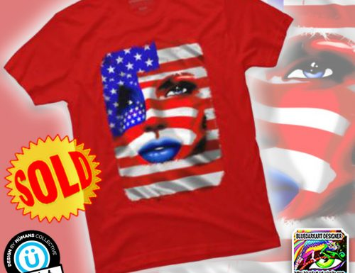 SOLD! USA Flag Girl Portrait TShirt By BluedarkArt
