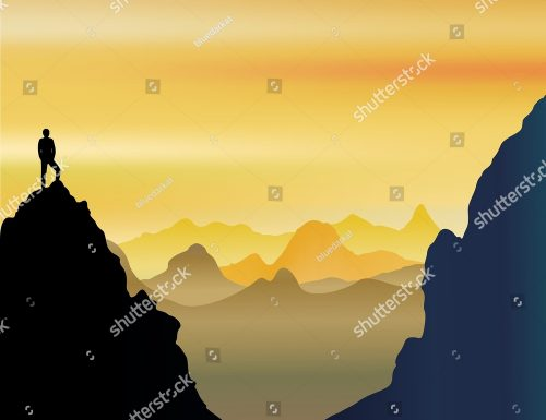 On Top of the World [Lonely Man on Mountains Landscape] ✱ NEW Vector Illustration