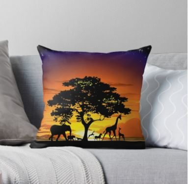 SOLD! Wild Animals on African Savanna Sunset Pillows – Thank You!