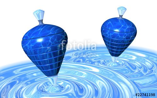 License SOLD! Spinning Tops on Water Whirpool Metaphoric 3D Digital Art © BluedarkArt