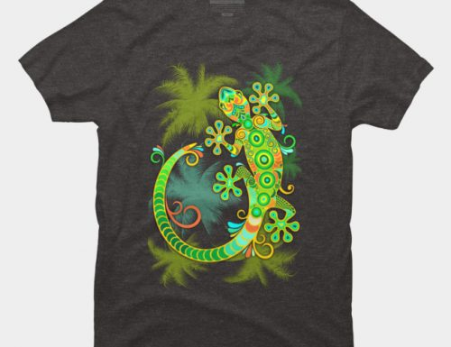 SOLD! Gecko Lizard Colorful Tattoo Style TShirt – Design By BluedarkArt