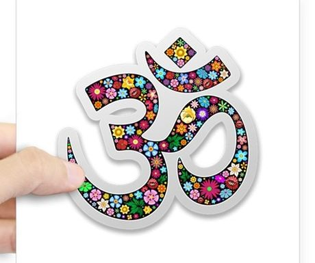 SOLD! Namaste Floral Yoga Symbol Sticker – Design by BluedarkArt