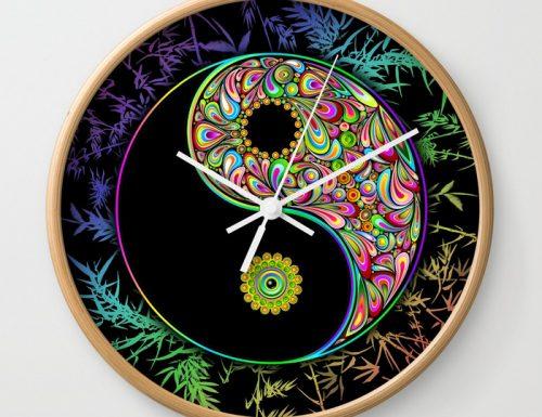 SOLD! Yin Yang Bamboo Psychedelic Wall Clock | Design by BluedarkArt