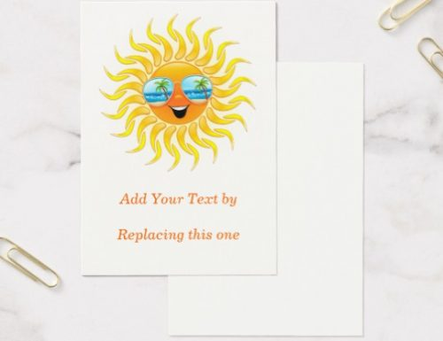 SOLD! Summer Sun Cartoon with Sunglasses Chubby 100 pack Business Cards