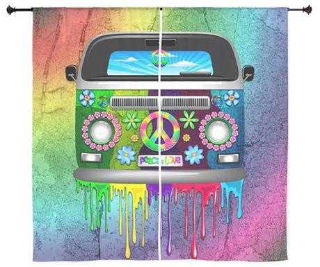 SOLD ☮ Hippie Van Dripping Rainbow Paint Curtains☮
