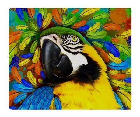 SOLD ☆ Gold and Blue Macaw Parrot Fantasy Throw Blankets ☆