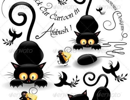 Licenses SOLD! Fun Black Cats Cartoon © BluedarkArt