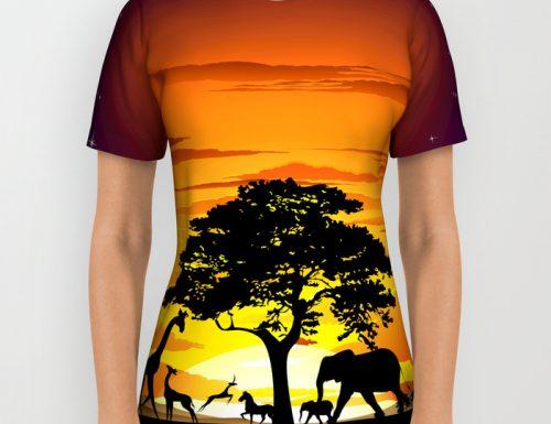 SOLD 7! Wild Animals on African Savanna Sunset AllOverPrint TShirts! Thank You!