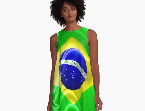 """Brazil Flag Waving Silk Fabric"" A-Line Dress by BluedarkArt 
