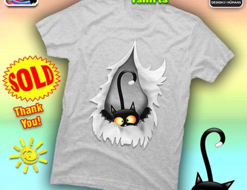 SOLD! Fun Cat Cartoon Ripped in Fabric Hole Tshirts – By BluedarkArt
