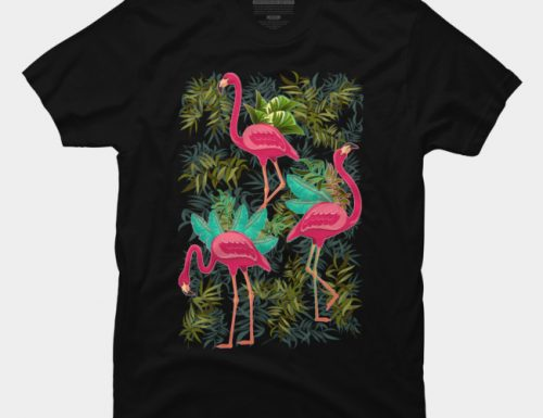 SOLD! Pink Flamingos Exotic Birds T-Shirt – Design by BluedarkArt