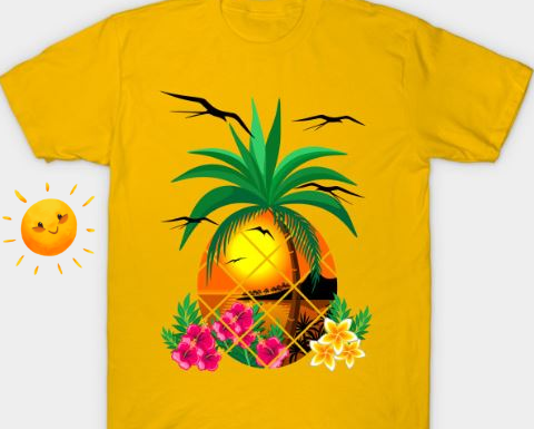 NEW Design on TeePublic SHOP! Pineapple Tropical Sunset, PalmTree and Flowers T-Shirts
