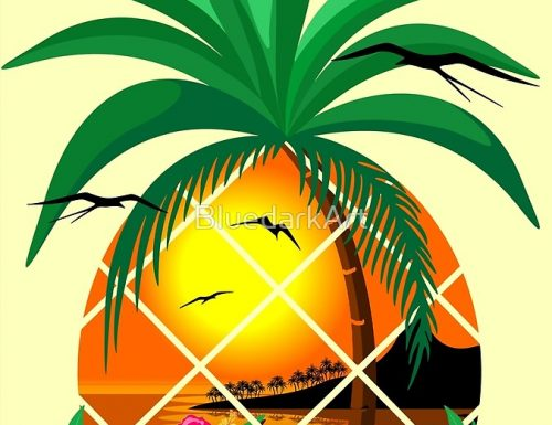"""NEW Design on Shop! """"Pineapple Tropical Sunset, Palm Tree and Flowers"""""""