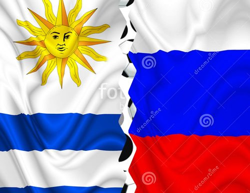 Russia vs Uruguay – Digital Silk Satin Waving Flags – by BluedarkArt Designer