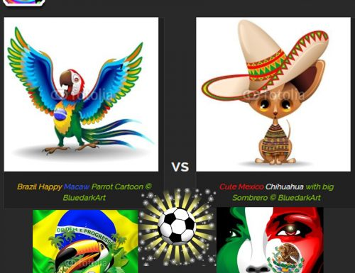 ♥ Brazil Macaw VS Mexico Chihuahua! ♥ Vector illustrations © BluedarkArt