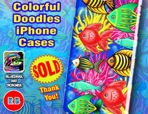 SOLD! Fish Cute Colorful Doodles iPhone Cases | Design by BluedarkArt