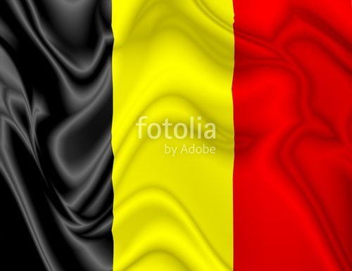 Belgium Flag Waving Silk Satin Digital Fabric © BluedarkArt
