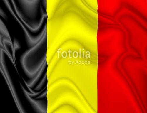 Belgium Flag Waving Silk Satin Digital Fabric © BluedarkArt