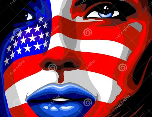 Usa Flag Stars and Stripes Beautiful Girl Portrait Vector illustration © BluedarkArt