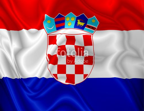 Croatia Flag Colors Digital Waving Silk Fabric and Vector