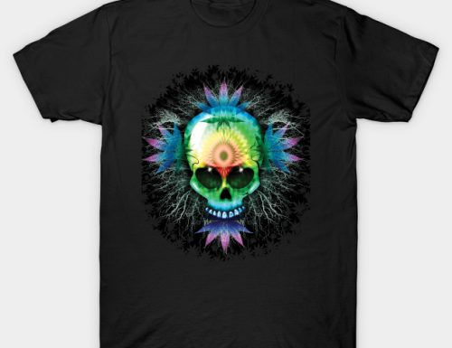 SOLD! Marijuana Psychedelic Skull Trippy TShirts | Design by BluedarkArt