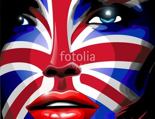 UK Flag Beautiful Girl Portrait, on Sensual Lips – Vector and Digital Art