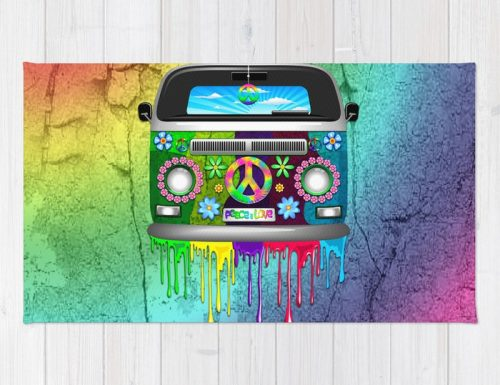 SOLD! Thank You! Hippie Bus Van Dripping Rainbow Paint Rugs by bluedarkArt | Society6