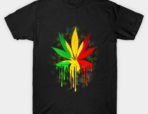 SOLD! Thank You! Marijuana Leaf Rasta Colors Dripping Paint Tshirts