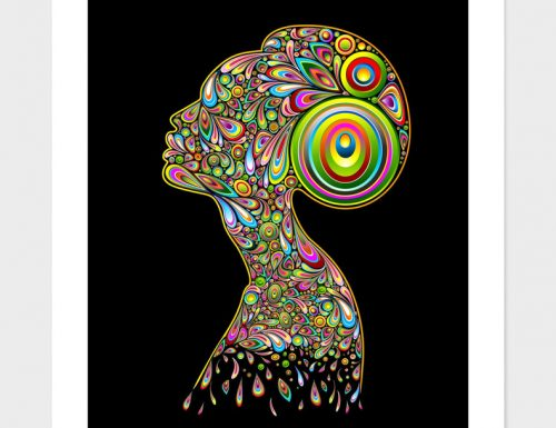 My First Sale on Curioos! Thank You! Woman Psychedelic Art Portrait