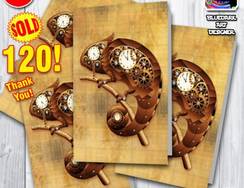 SOLD 120 Steampunk Chameleon Vintage Style Greeting Cards! Thank You!