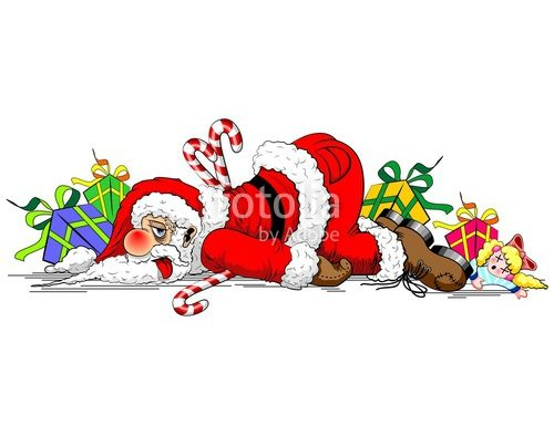 Santa Claus Exhausted Funny Character – NEW Vector illustration © BluedarkArt
