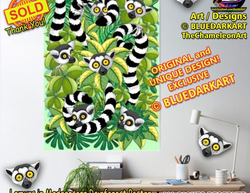⭐ SOLD!  Thank You! ⭐ 🌴 Lemurs in Madagascar Rainforest posters 🌴 Design © BluedarkArt TheChameleonart