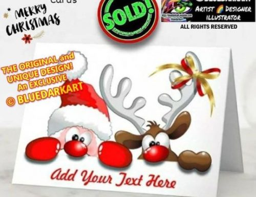 SOLD again ! Thank You! 🎄 Funny Santa and Reindeer Cartoon greeting cards 🎄 Design © BluedarkArt TheChameleonArt