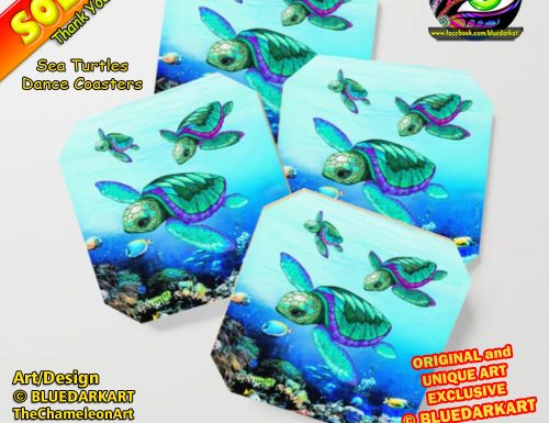 💙 My First Sale of 2021 ! Thank You! Sea Turtles Dance Coasters 💦 Design © BluedarkArt TheChameleonArt