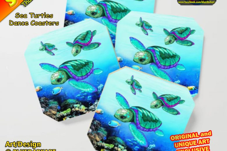 💙 My First Sale of 2021 ! Thank You! Sea Turtles Dance Coasters 💦 Design © BluedarkArt TheChameleonArt