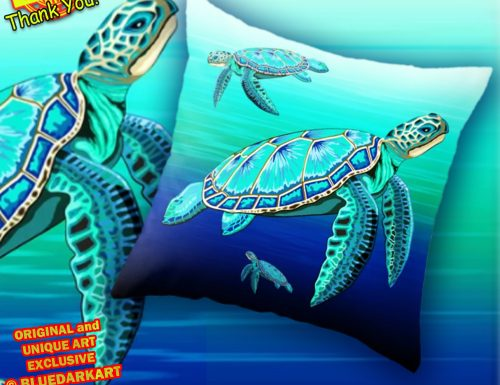 Sea Turtle Turquoise Oceanlife Throw Pillow SOLD 💦 Design Copyright BluedarkArt TheChameleonArt