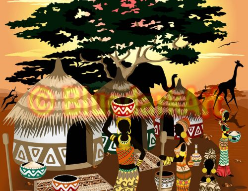 African Life Naif Style Vector Art © BluedarkArt TheChameleonArt 🔸 Buy License / Download